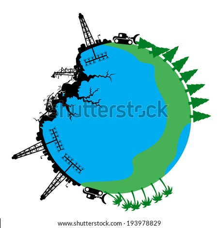 Fracking Drill Rig Destruction of Planet Earth  - stock vector