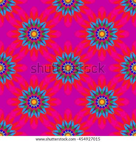 Fractal mandala seamless pattern on pink leaves background. - stock vector