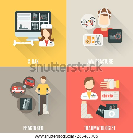 Fracture bone design concept set with x-ray and traumatologist flat icons isolated vector illustration - stock vector