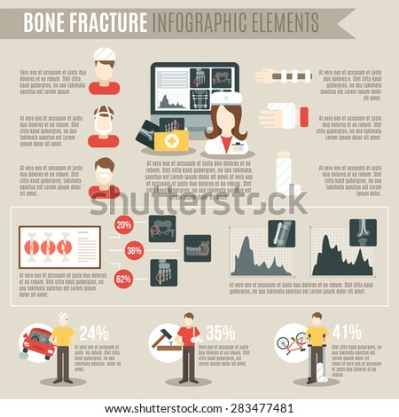 Fracture bone infographics set with medicine and physiology symbols and charts vector illustration - stock vector