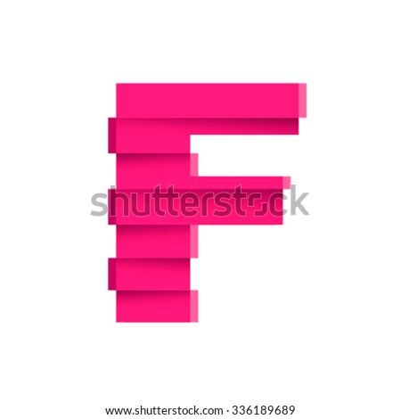 Fractured font, letter F - stock vector