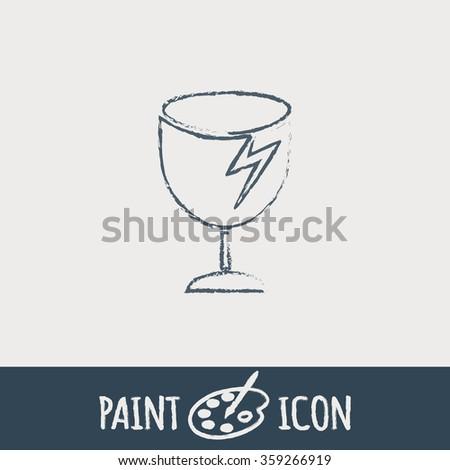 fragile glass icon. logistics symbol - stock vector