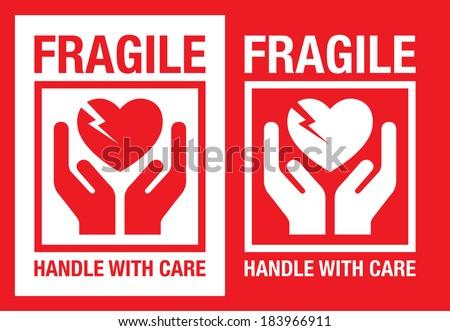 fragile heart vector symbol - stock vector