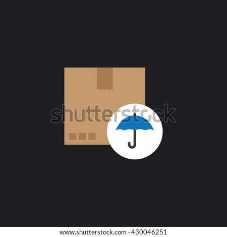 Fragile icon. cardboard with umbrella icon