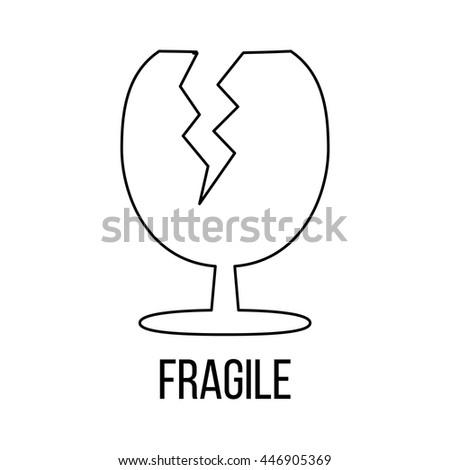 Fragile icon or logo line art style. Vector Illustration. - stock vector