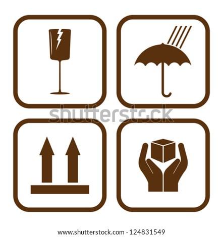 Fragile icons - stock vector