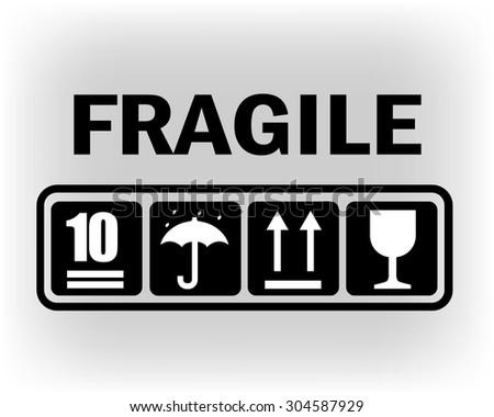 Fragile or packaging symbols. Black fragility signs on white background. Vector illustration. - stock vector