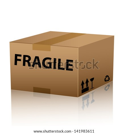 fragile package cardboard box with text - stock vector