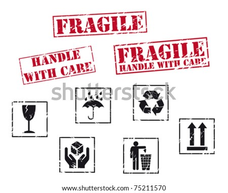 Fragile rubber stamps - stock vector