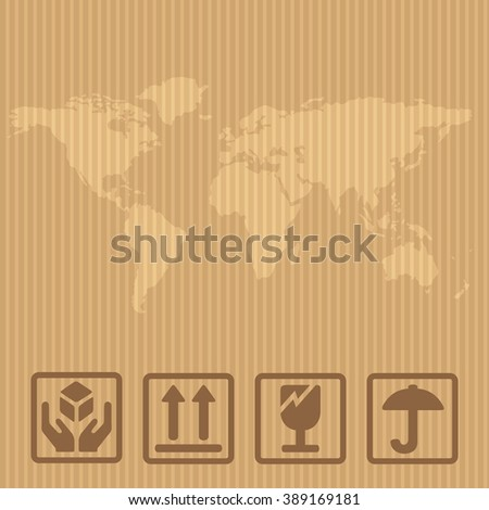 Fragile signs and world map packaging box. Vector illustration isolated on brown carton delivery background for web, icon, banner, info graphic. - stock vector