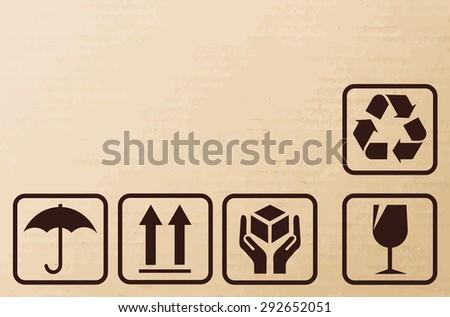 Fragile signs on cardboard.- vector illustrator  - stock vector