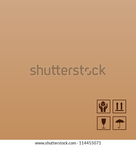 Fragile symbol on cardboard - stock vector