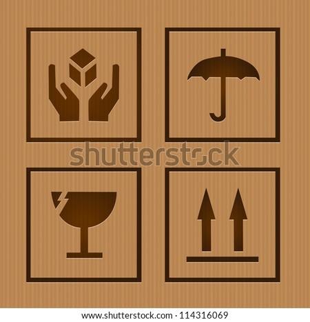 Fragile symbols - stock vector
