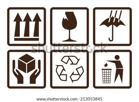 Fragile symbols, using on cardboards box - stock vector