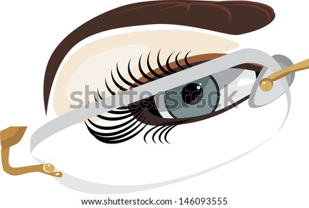 Fragment of female face in classic glasses. Vector - stock vector