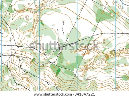 Fragment of topographic vector map for orienteering sport - stock vector