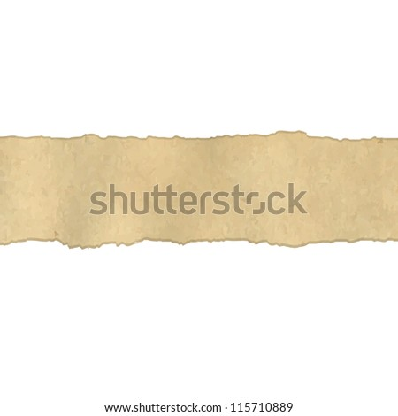 Fragmentary Old Vintage Paper Borders, Vector Illustration - stock vector