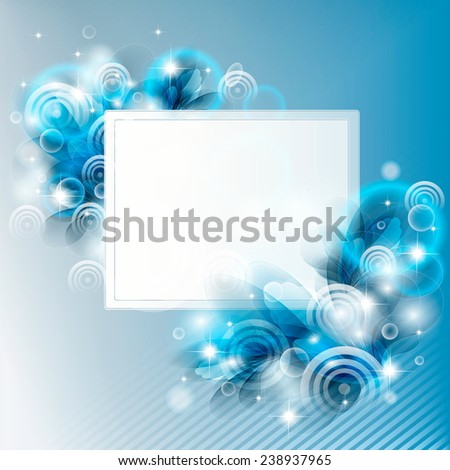 frame about fantasy flowers on a blue background - stock vector