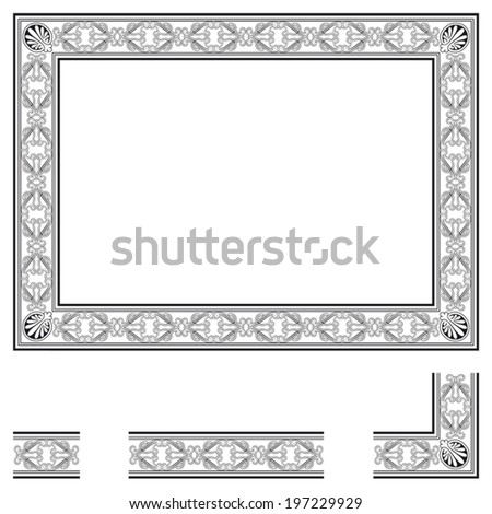 Frame and modular elements to create others at any size - stock vector