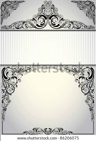 Frame background design.Background retro frame label design, black colored.Each of elements can easily regroup and remove. - stock vector