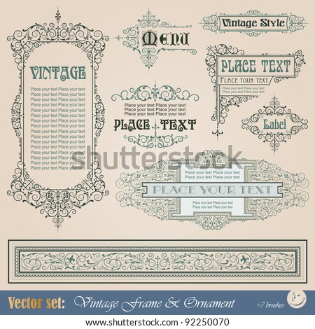 Frame, border, ornament and element in vintage style - stock vector