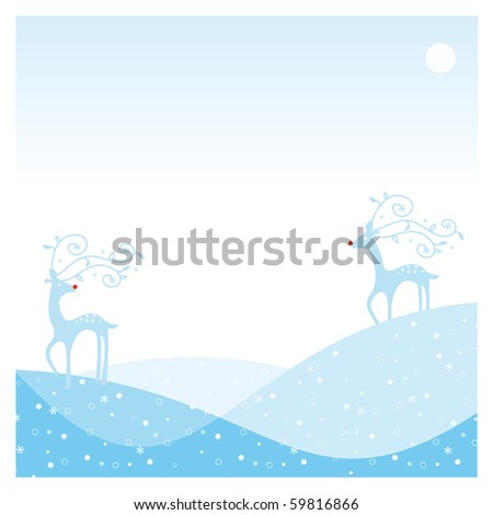 frame card with two reindeer with the snow and moon landscape - stock vector