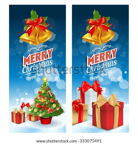 frame christmas snow tree - stock vector