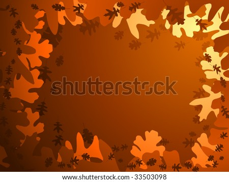 Frame composed of vector oak leaves in brown and orange