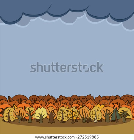 Frame composition with autumn trees. Decorative cartoon forest with cloudy skies and place for text. Hand-drawn vector illustration. - stock vector