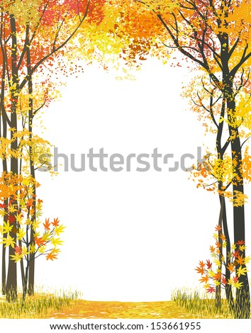 Frame composition with autumn trees on white background - stock vector