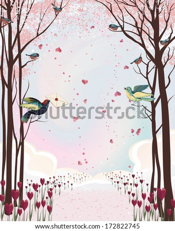 Frame composition with pink forest and birds - stock vector