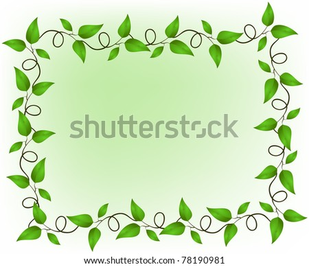 Frame consisting of a suite of green branches with leaves - stock vector