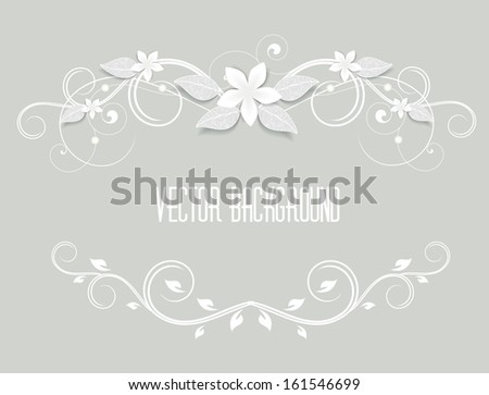 frame decorated with white flowers - stock vector