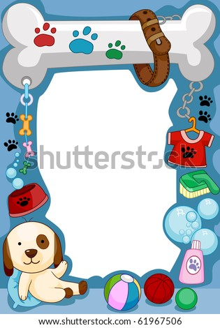 Frame Design Featuring a Dog and Other Random Doodles - Vector - stock vector