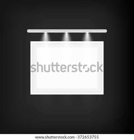 Frame For Picture And Lamp On A Wall. Vector Illustration - stock vector