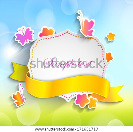 Frame for text in a vintage style with a ribbon against the background paper flowers,butterflys and spring bokeh background - stock vector