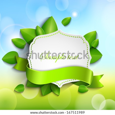 Frame for text in a vintage style with a ribbon against the background paper leaves and spring bokeh background - stock vector