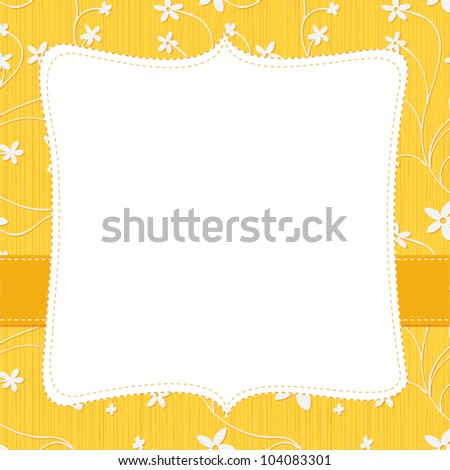 Frame for Text on a Yellow Flowery Background - stock vector
