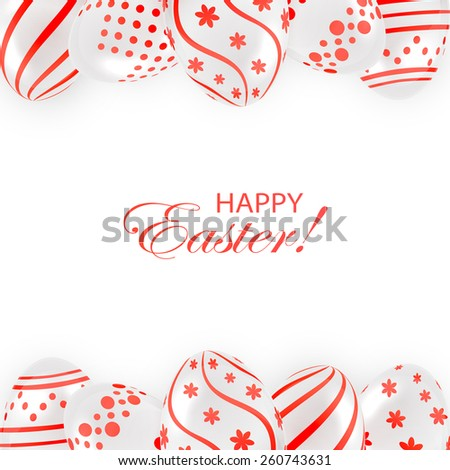 Frame from decorative Easter eggs with red patterns on white background, illustration. - stock vector