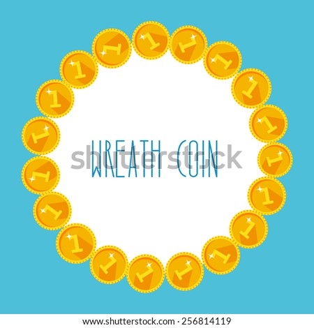 Frame from golden coins on white background - stock vector