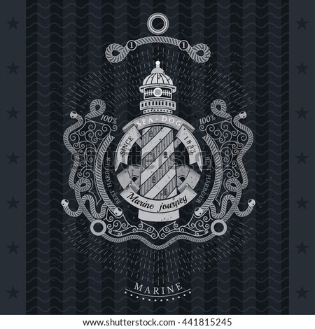 Frame from line pattern and lighthouse with round ribbon in center. Marine vintage label on blackboard - stock vector