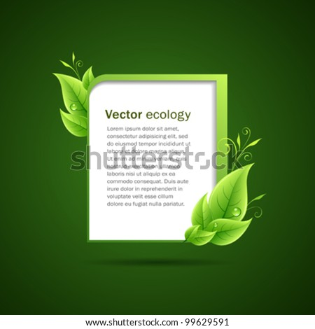 Frame green leaf ecology concepts. vector illustration - stock vector