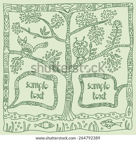 frame. green nature  - stock vector