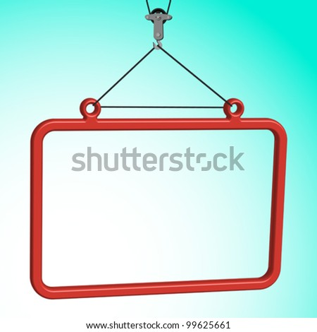 frame hanged on crane hook, abstract vector art illustration - stock vector