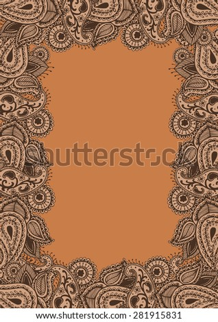 Frame Henna Mehndi Abstract Mandala Flowers and Paisley Doodle Vector Illustration - stock vector