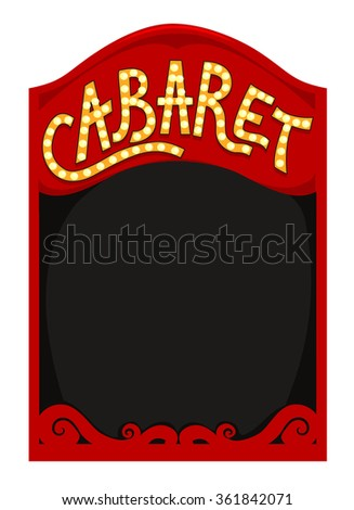 Frame Illustration Featuring a Red Box with the Word Cabaret Written Above It - stock vector