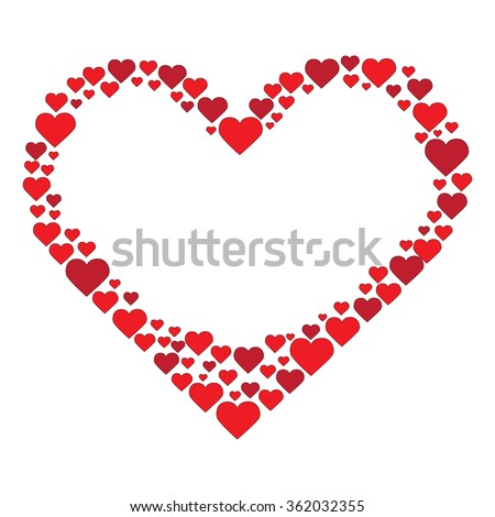 frame, illustration, love, photo, photograph, love heart, red hearts, valentines day, holiday, vector - stock vector