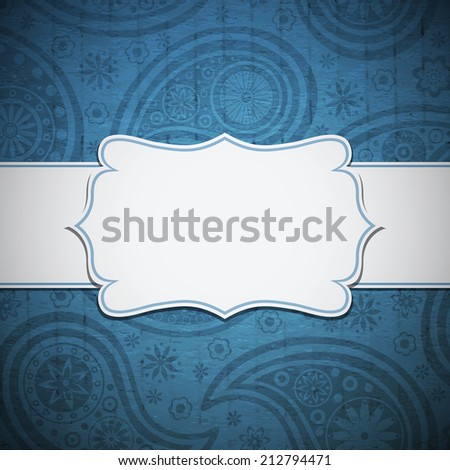 Frame in the Indian style on the paper background with paisley pattern. Vector illustration. Eps10  - stock vector