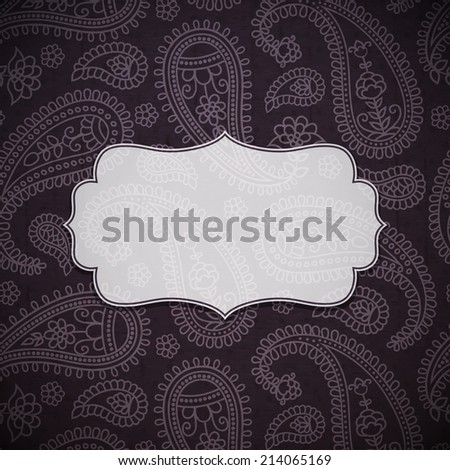 Frame in the Indian style on the textured background with paisley pattern. Vector illustration. Eps10 - stock vector