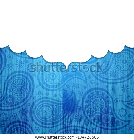Frame in the Indian style on the wooden background with paisley pattern. Vector illustration. Eps10 (Transparency effects). - stock vector